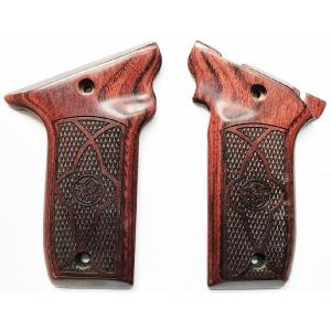 S&W 22 Victory Rosewood Checkered with Border Logo Image